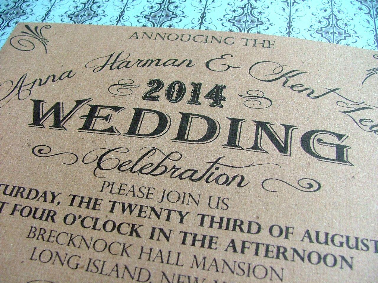 Kraft wedding invitations signature font look via etsy