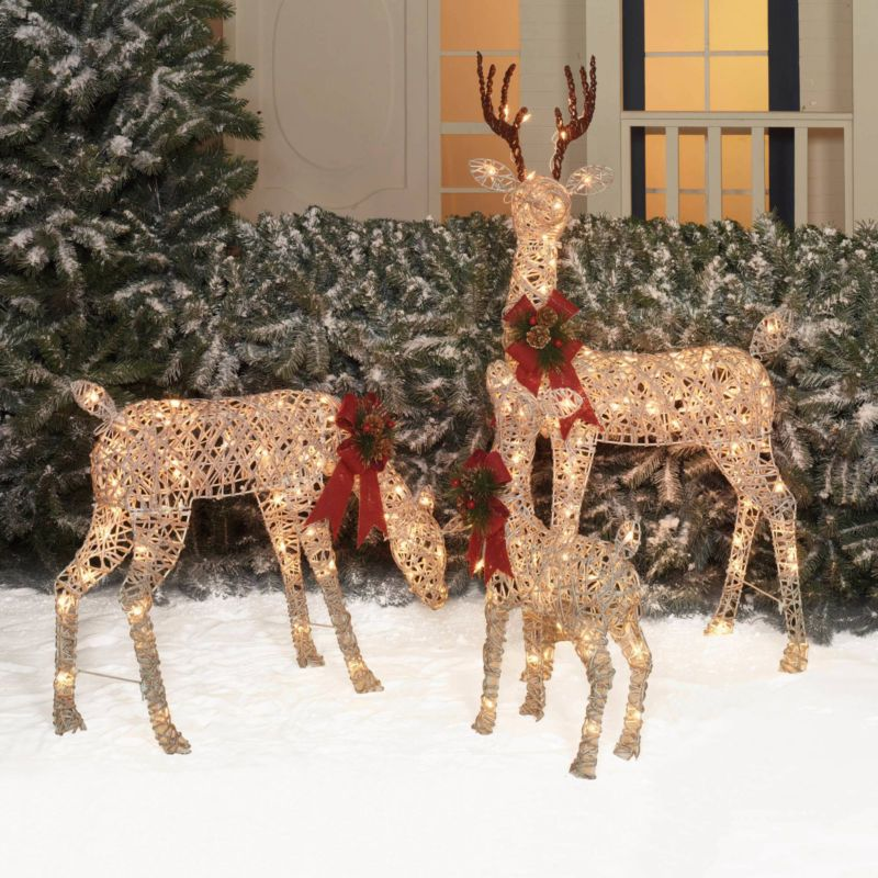 Outdoor Lighted Pre Lit 3 Pc Deer Family Display Scene Christmas Yard Decorating With Christmas Lights Christmas Deer Decorations Outdoor Christmas Decorations