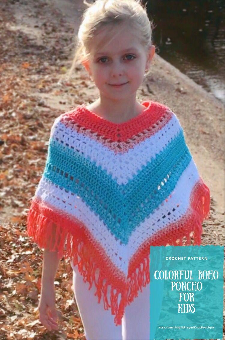 Adorable Boho Poncho For Kids Crochet Pattern Easy Hippie Poncho