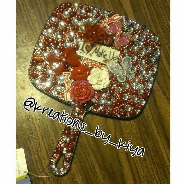Red White I Love Makeup Hand Held Mirror Mirror Crafts Custom Bling Diy Mirror