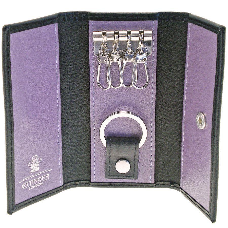Ettinger Sterling 4-Hook Valet Key Case, Purple