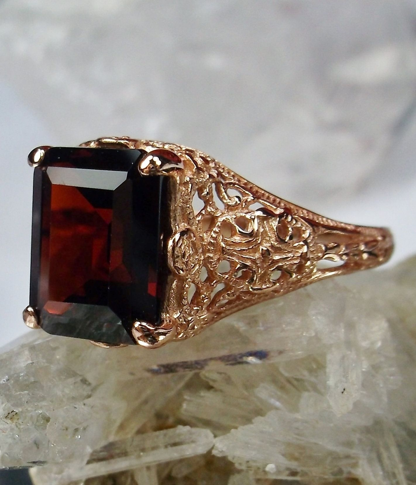 Natural Red Garnet 10k Rose Gold Victorian Edwardian Filigree Ring Made To Order 206 Filigree Ring Red Garnet Natural Red