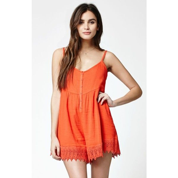 14229dc949cb Volcom Pinned Cami Romper ( 55) ❤ liked on Polyvore featuring jumpsuits