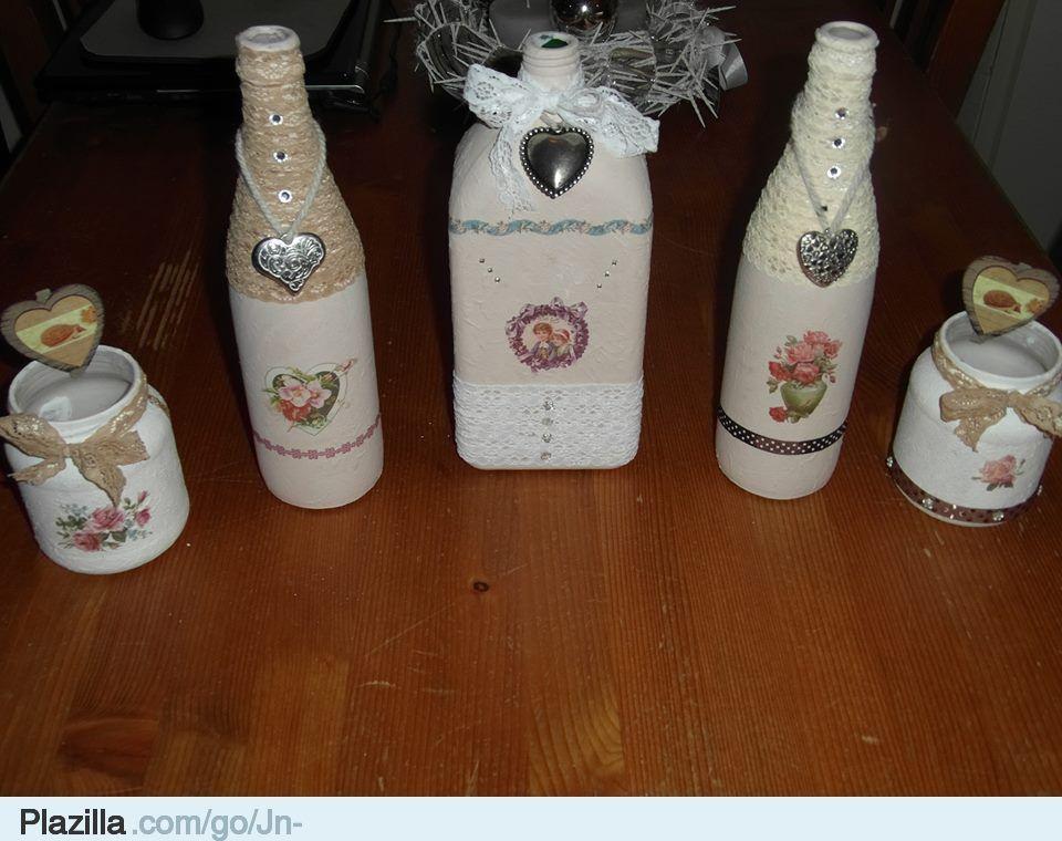 Glazen flessen met gesso low budget creatief knutselen for Huis gezellig maken goedkoop