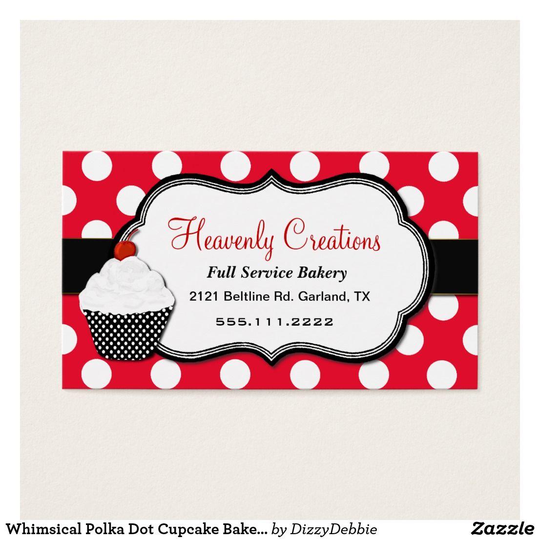 Whimsical Polka Dot Cupcake Bakery Business Card | Bakery business ...