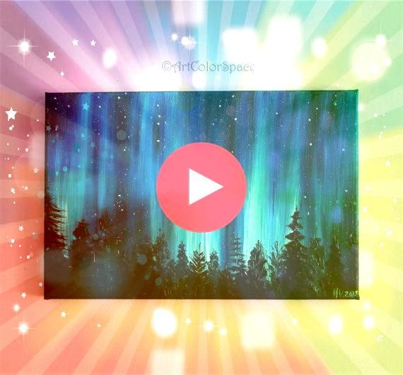 Galaxy painting Night sky Northern lights painting Landscape painting Aurora borealis Oil painting on canvas  Small Galaxy painting Night sky Northern lights painting Lan...