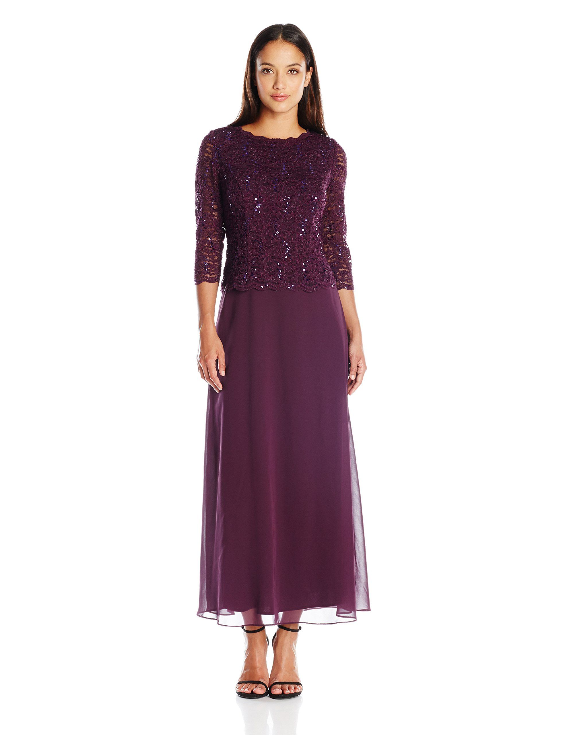 Alex Evenings Womens Petite Long Mock Dress With Lace And Illusion