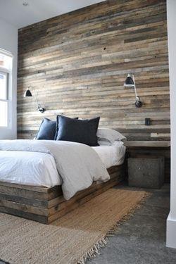 Thin Wood Plank Wall Installation Home Bedroom Interior Design