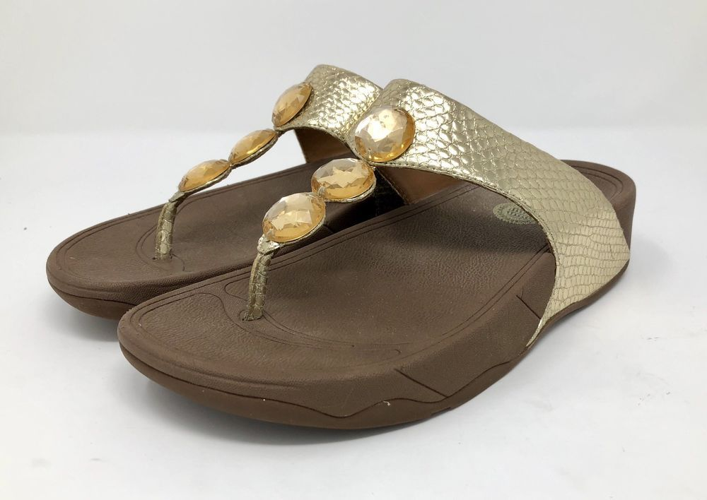 67d450e2003a FitFlop Women Size 7 Petra Gold Toning Flip Flop Thong Sandal Rhinestone  Jeweled