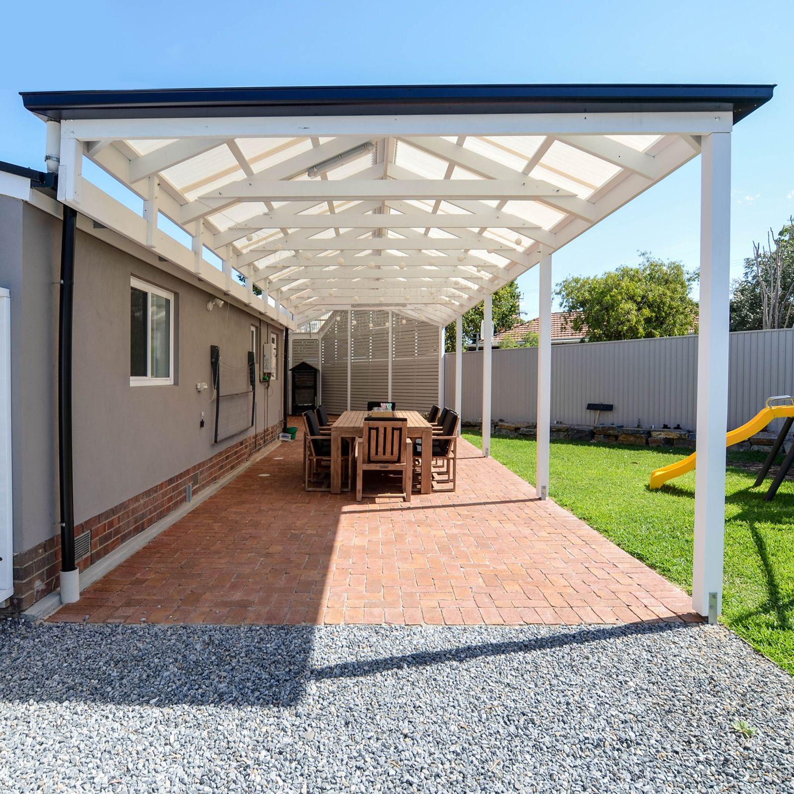 Pergola Designs Bunnings: Softwoods 10.8 X 3.8m Suntuf Solarsmart Gable Roof Pergola