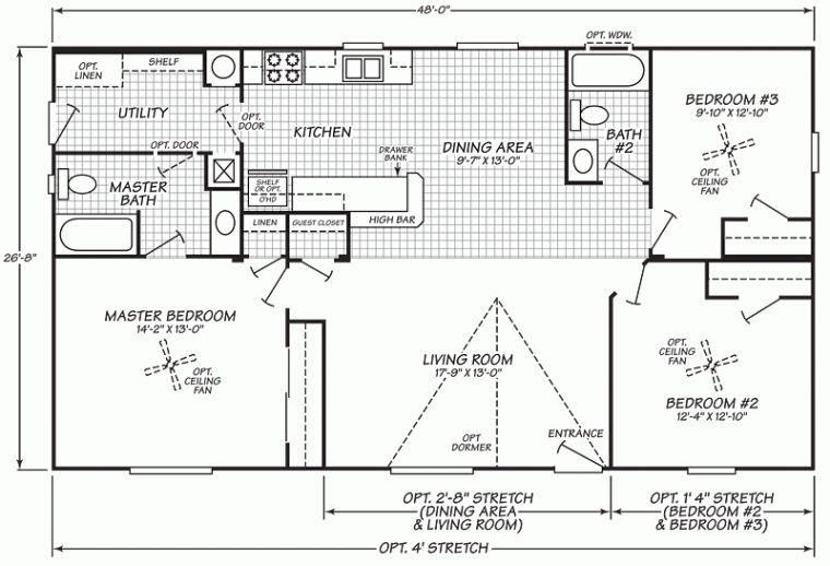 Double Wide Mobile Home Floor Plans Fleetwood Mobile Home Floor Intended For Fleetwood Mobile Homes Flo House Floor Plans Mobile Home Floor Plans Floor Plans Bedroom bath double wide mobile