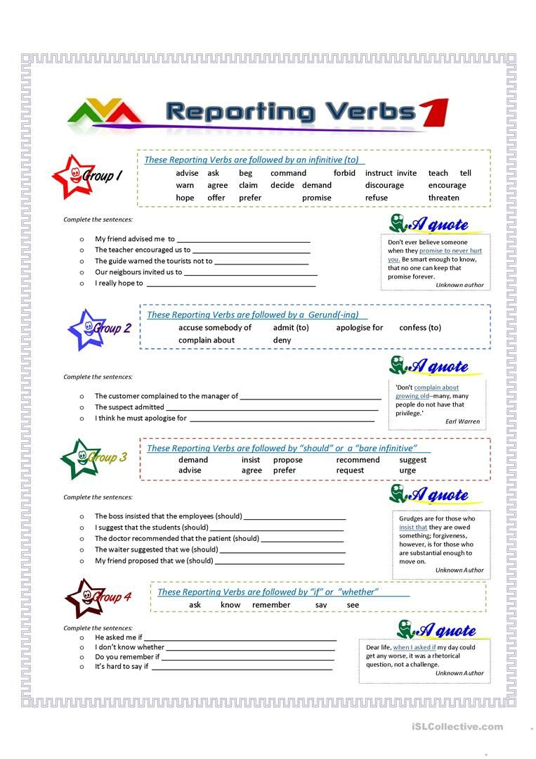 Reporting Verbs Part 1 Worksheet Free Esl Printable Worksheets Made By Teachers Reported Speech Speech Activities Learn English Vocabulary [ 1079 x 763 Pixel ]
