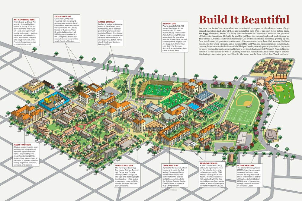 Santa Clara University Campus Map Illustration On Behance
