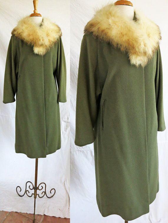 Vintage 1950s Wool Coat Fur Collar by DustyDesert on Etsy