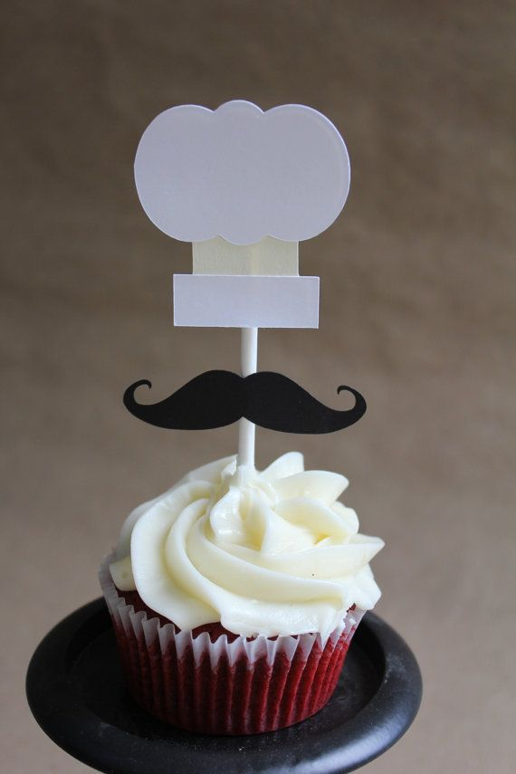 set of 12 chef hat and mustache cupcake toppers  set includes 12 chef hat and mustaches as