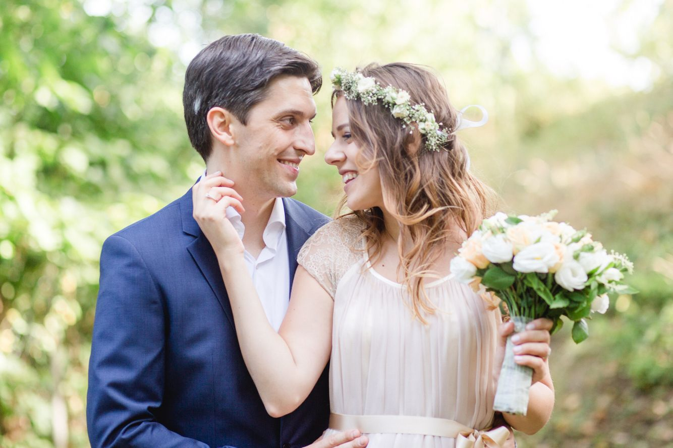 My wedding with a flower crown and a summer pink wedding bouquet