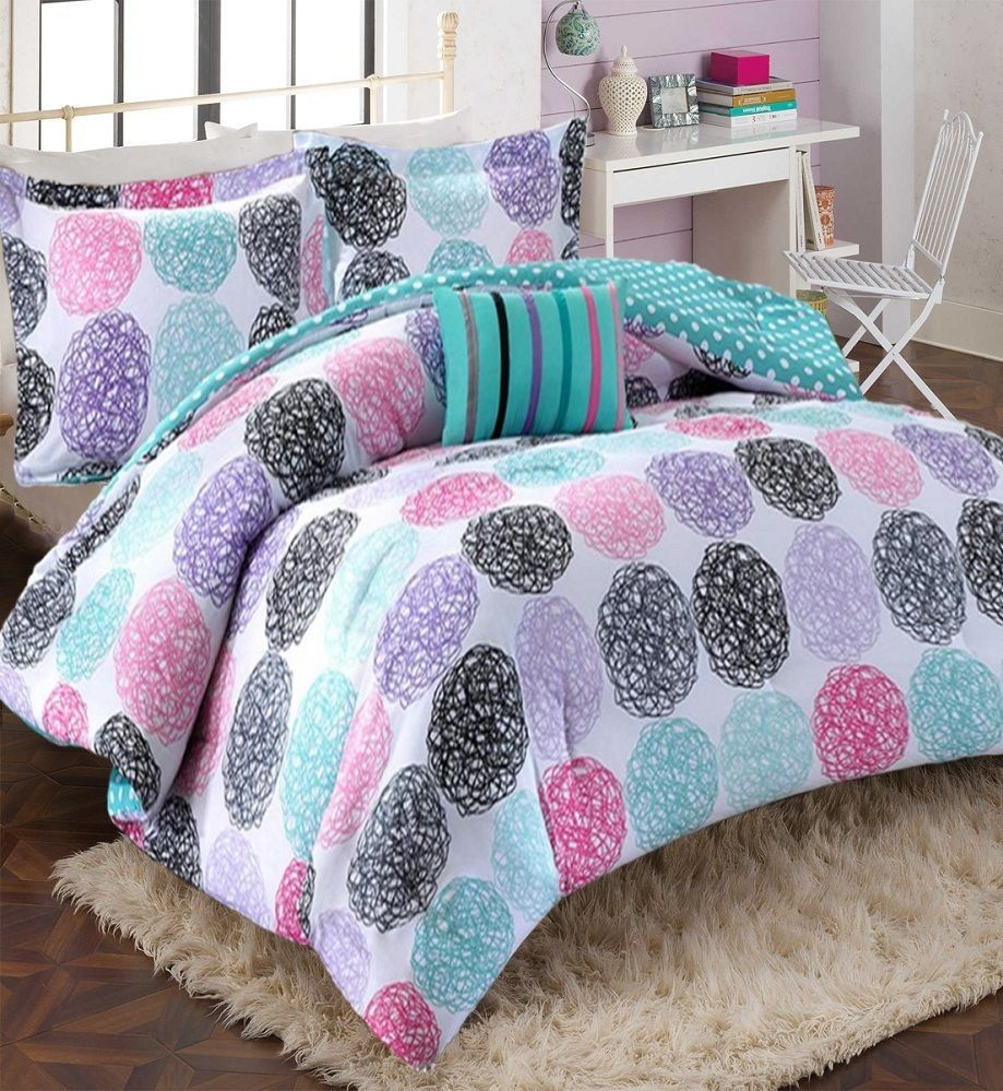 girls comforter set modern teen bedding pink purple teal aqua  - girls comforter set modern teen bedding pink purple teal aqua polka dotbedroom homeessence