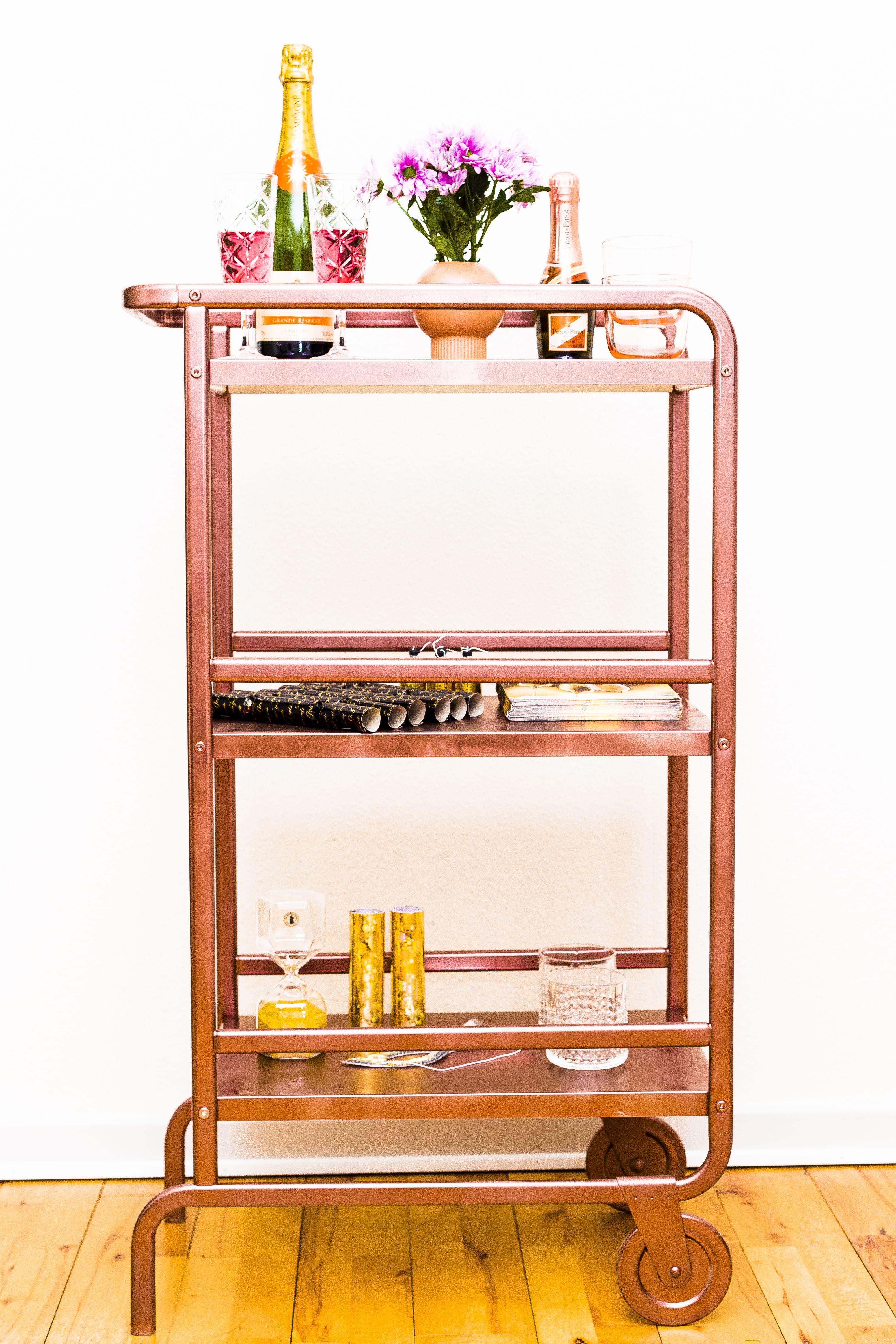 diy rose gold bar cart new years eve glam ikea hacked soulful - Rose Gold Bar Cart