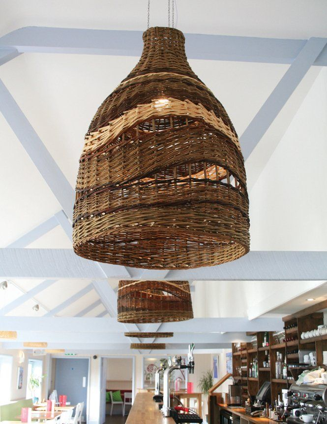 Space With Wicker Pendant Light Fixture Inspiration For