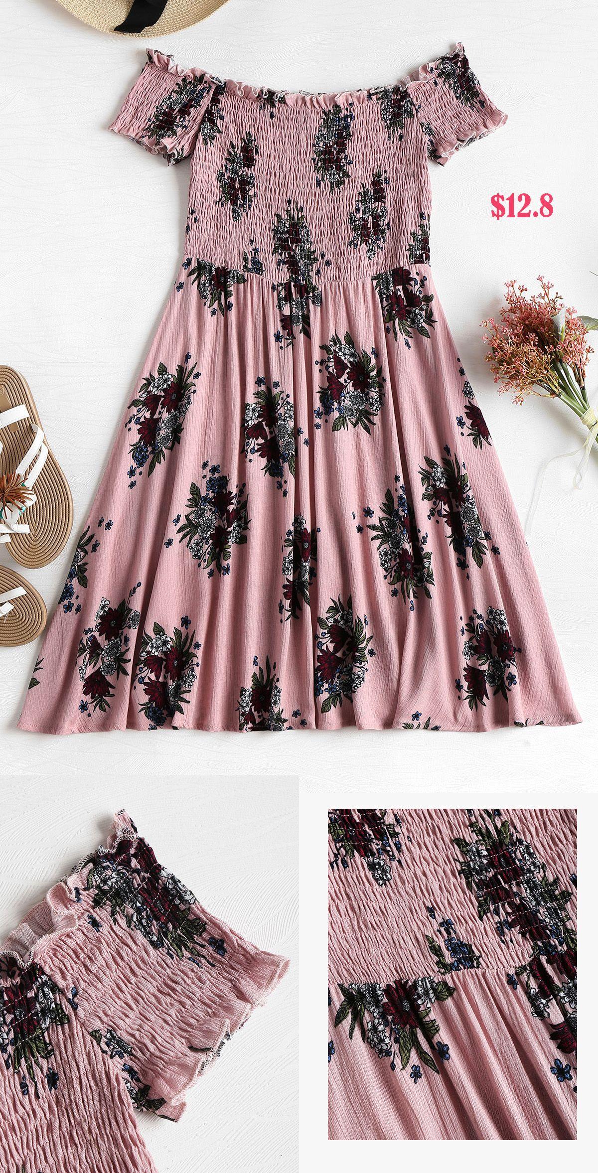 c213ebb11802 Smocked Floral Off Shoulder Dress in 2019