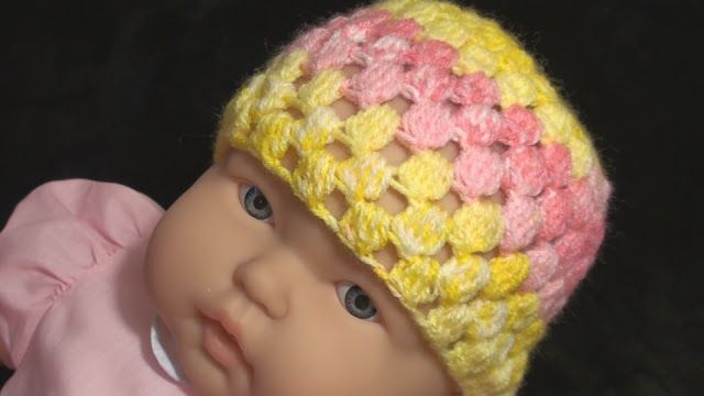 Crochet Geek - Free Instructions and Patterns: Crochet Baby Cap Odisha - Cluster Stitch