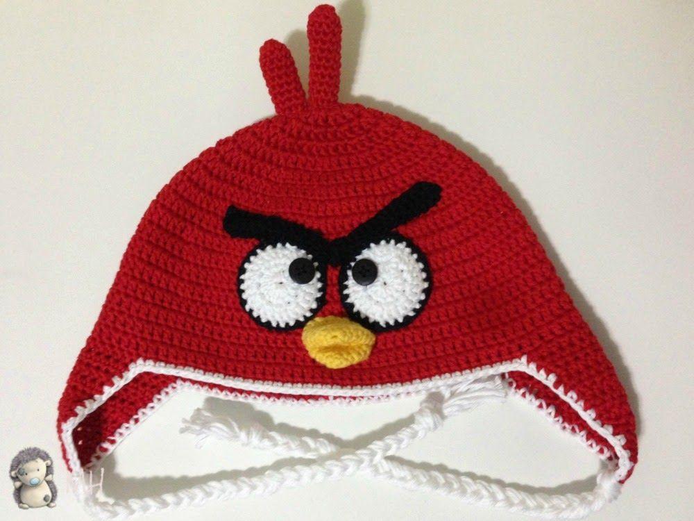 Patron Angry Birds Amigurumi : Gorro a Crochet Angry Bird Rojo, patron GORROS Y ...