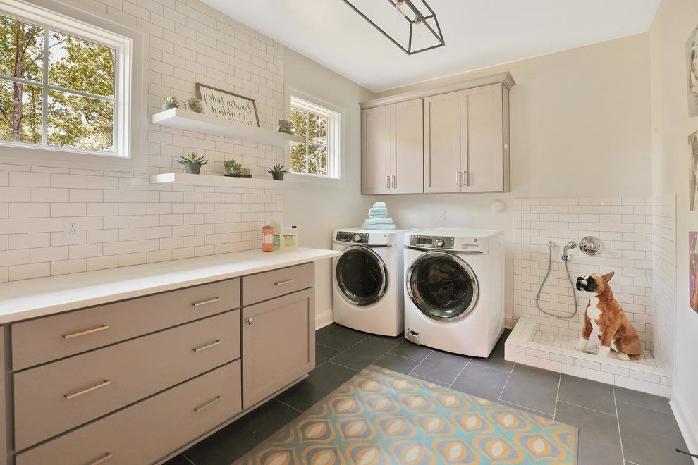 Image result for mudroom with dog sink Modern laundry
