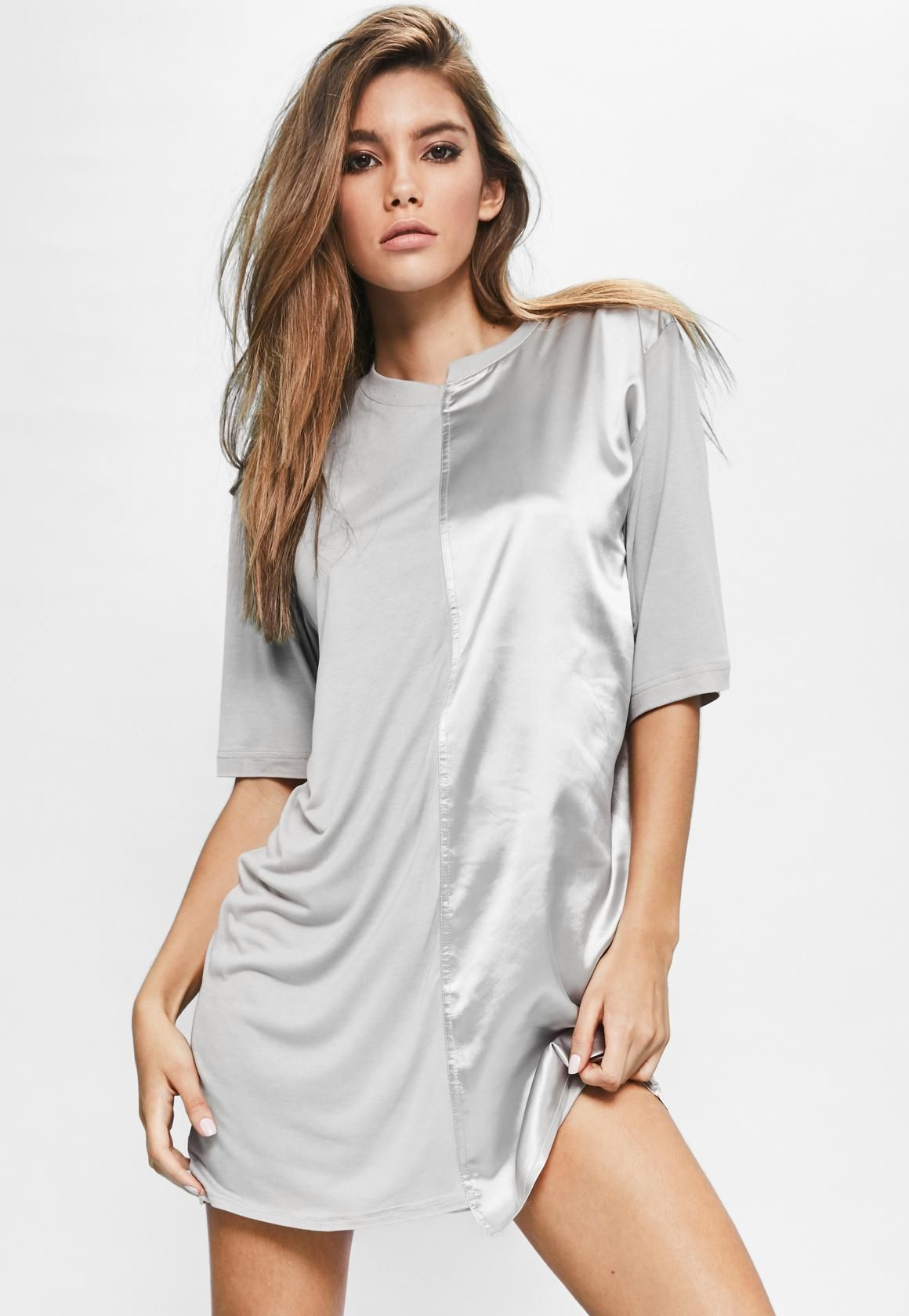ea1aec349d1 Londunn + Missguided Grey Spliced Satin Jersey T-shirt Dress - Missguided