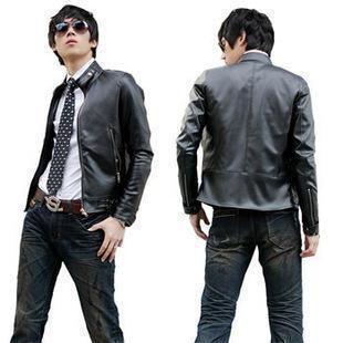 Korean Men's Stand-Collar Slim Fit Leather Jacket