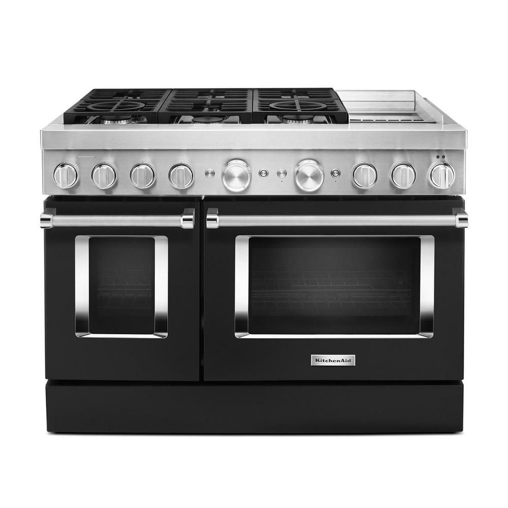Kitchenaid 48 In 6 3 Cu Ft Smart Double Oven Dual Fuel Range With True Convection In Imperial Black With Griddle In 2020 Double Oven Kitchen Aid Convection