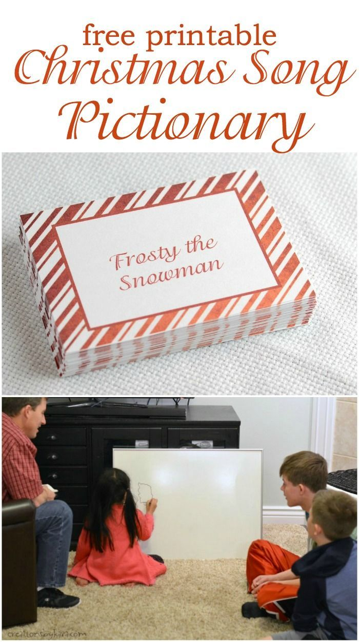 Christmas Party Family Games Ideas Part - 41: Christmas Carols Pictionary Game- With Free Printable Cards. Perfect For  Any Christmas Party, Or Just For Family Fun! | Christmas Games | Pinterest  | Free ...