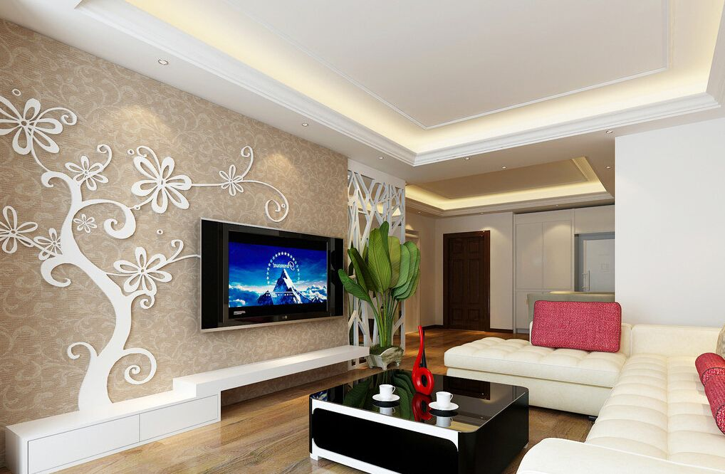 Showing gallery for simple false ceiling with fan for Simple hall interior design