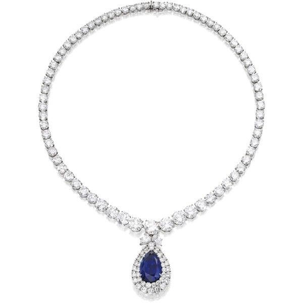 Platinum, Sapphire and Diamond Necklace, Harry Winston | lot |... ❤ liked on Polyvore featuring jewelry, necklaces, platinum diamond necklace, sapphire jewellery, wine necklace, sapphire necklace and diamond jewelry