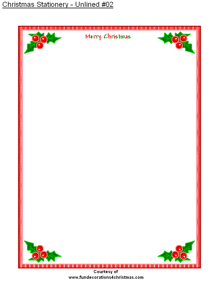 Free Printable Stationery | FREE Printable Unlined Christmas ...