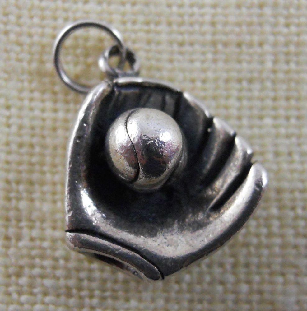 Vintage Jezlaine Sterling Silver Baseball Softball Mitt Ball Bracelet Charm  4v48 #jezlaine