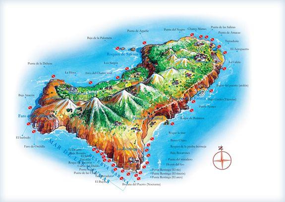 Mapa De El Hierro.Centro De Buceo El Hierro Mapa Isla Mares Y Oceanos