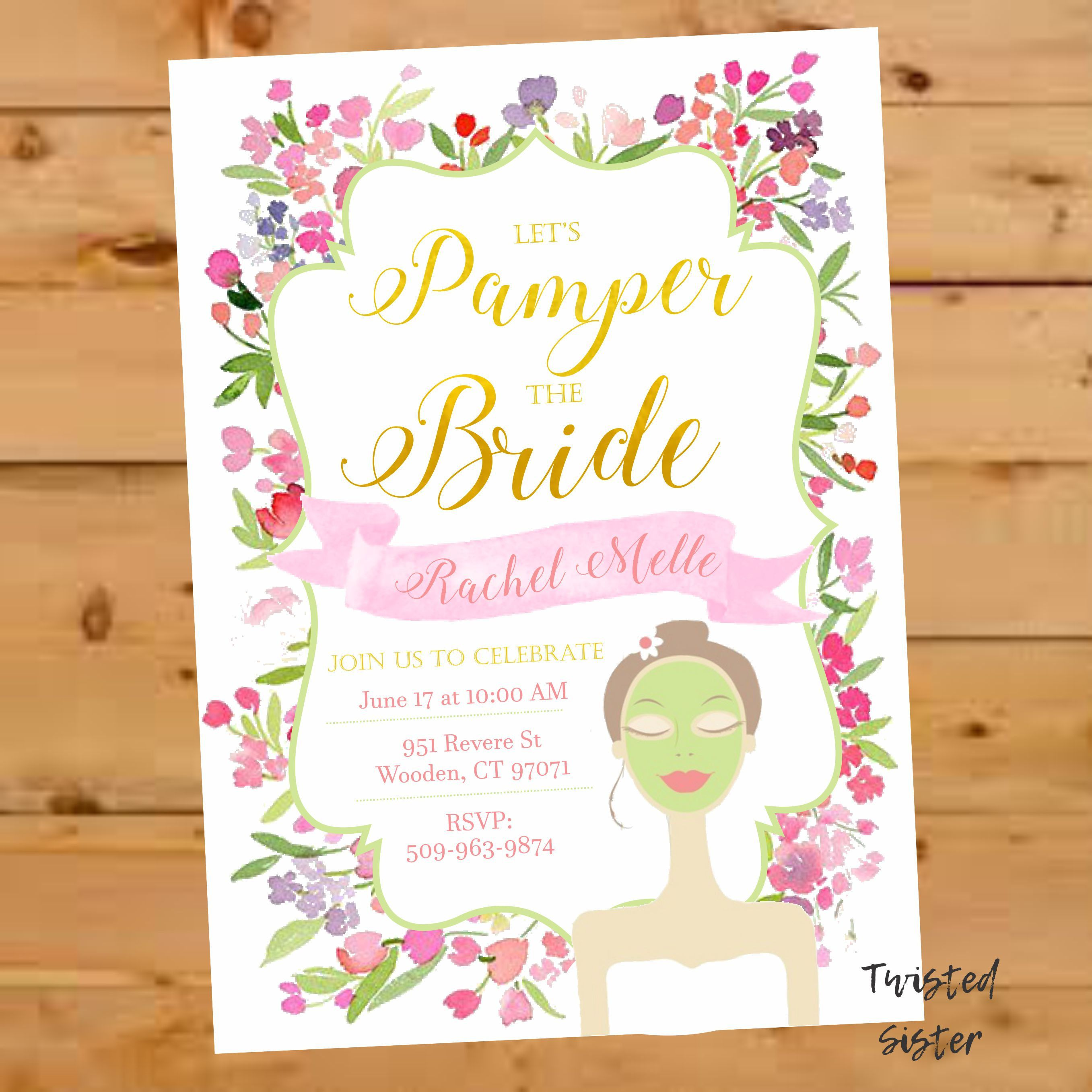 spa invitation bridal shower invitation bridal shower invite floral watercolor spa day invitation spa bridal shower spa baby shower by