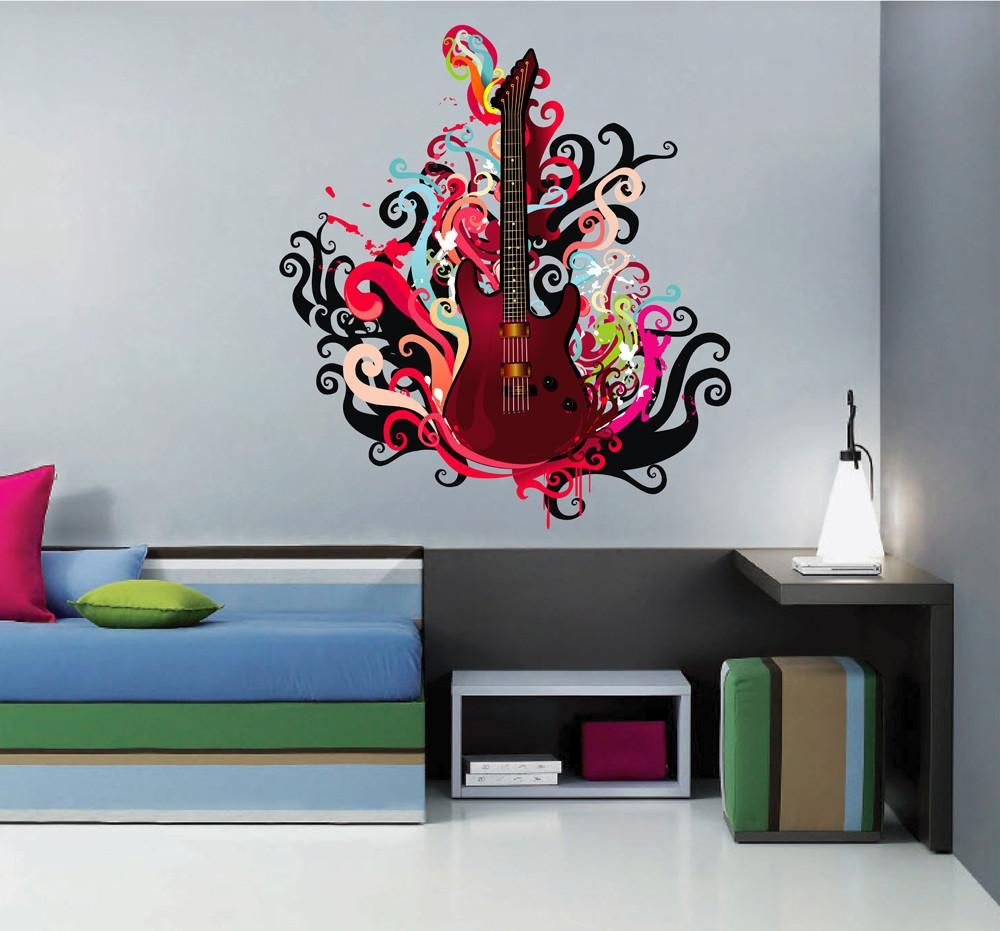 Cik532 Full Color Wall Decal Bass Guitar Music Rock Monogram Splashes Bedroom Music Wall Stickers Music Wall