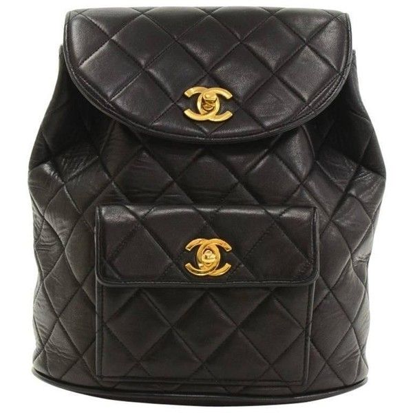 1dd1d378d5c3 Preowned Chanel Black Quilted Lambskin Leather Medium Backpack Bag (11,625  SAR) ❤ liked on Polyvore featuring bags, backpacks, black, flap backpack,  chanel ...