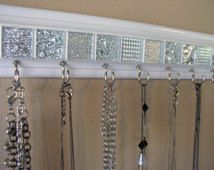 Jewelry organizer This necklace holder rack has beautiful white & silver mosaic tile 11.5 w/ 7hooks .Necklace organizer jewelry storage GIFT