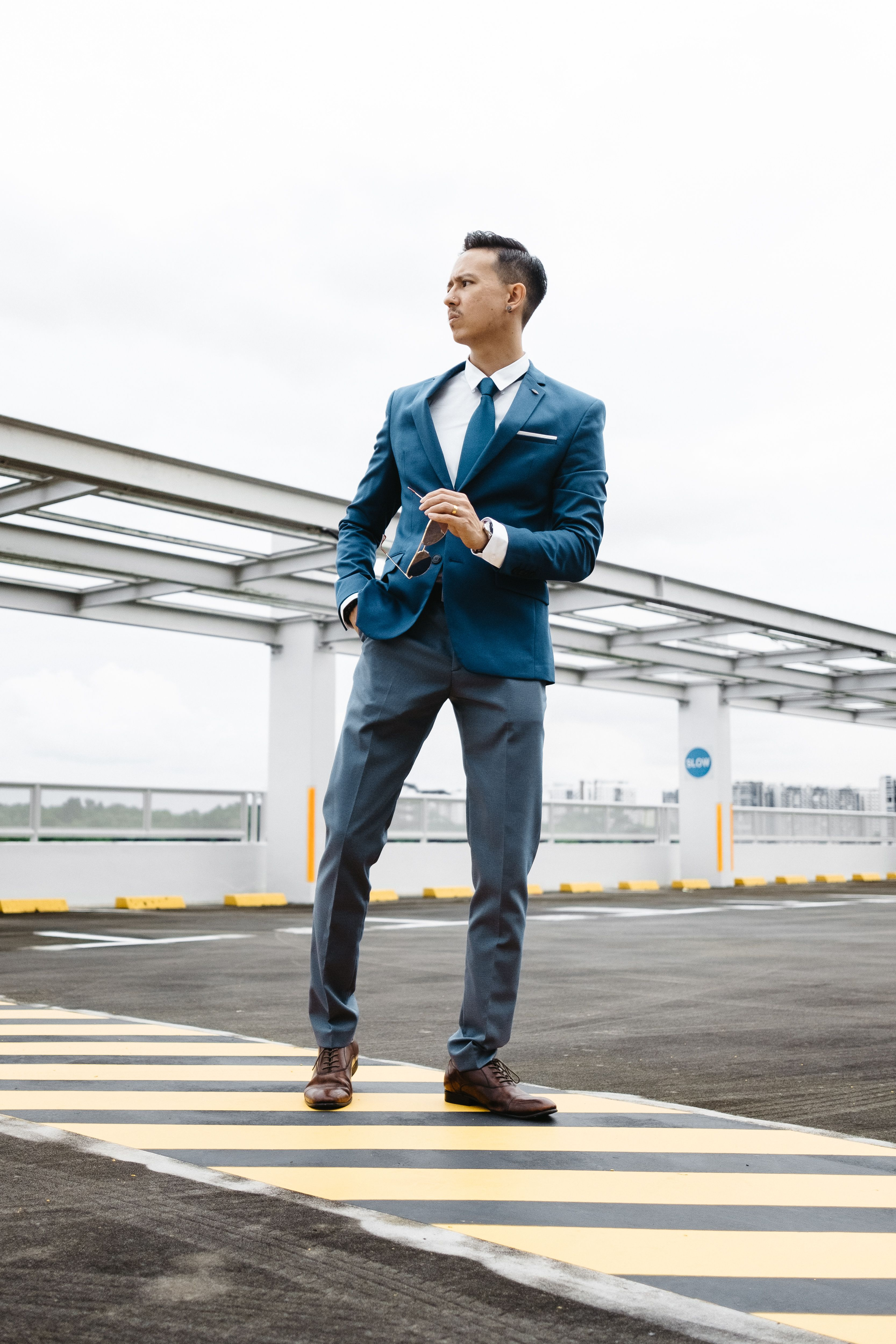 Blue Blazer Grey Pants Brown Leather Shoes Blue Tie Brown