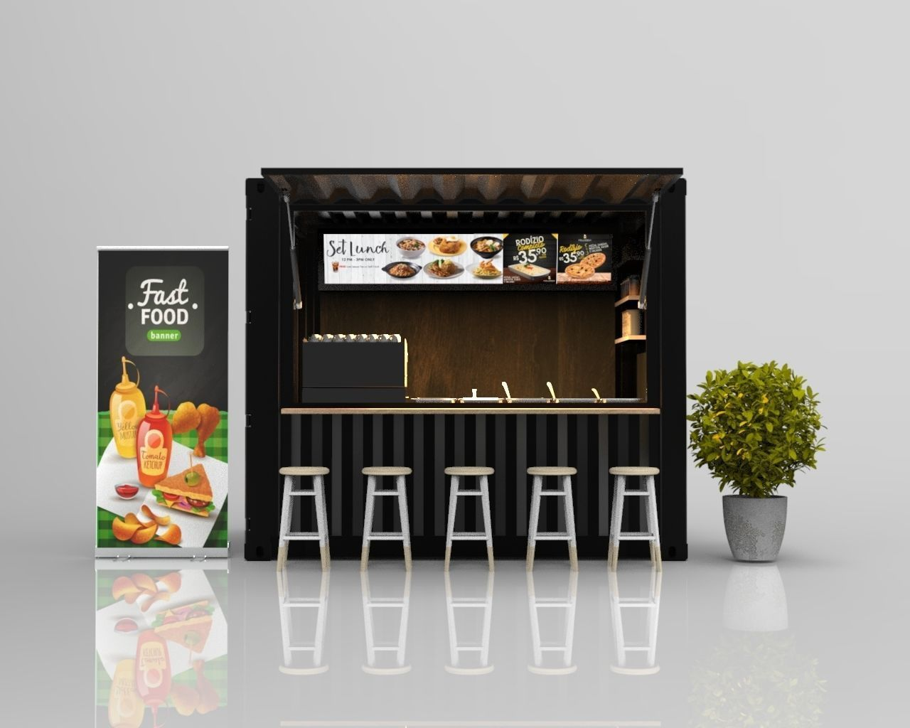 3d 10ft Container Kiosk Cgtrader Food Containers Design Cafe Shop Design Container Cafe