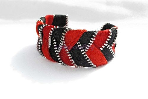 Plaited Zip Cuff bracelet - multicolour - zipper craft | habercraftey - Jewelry on ArtFire