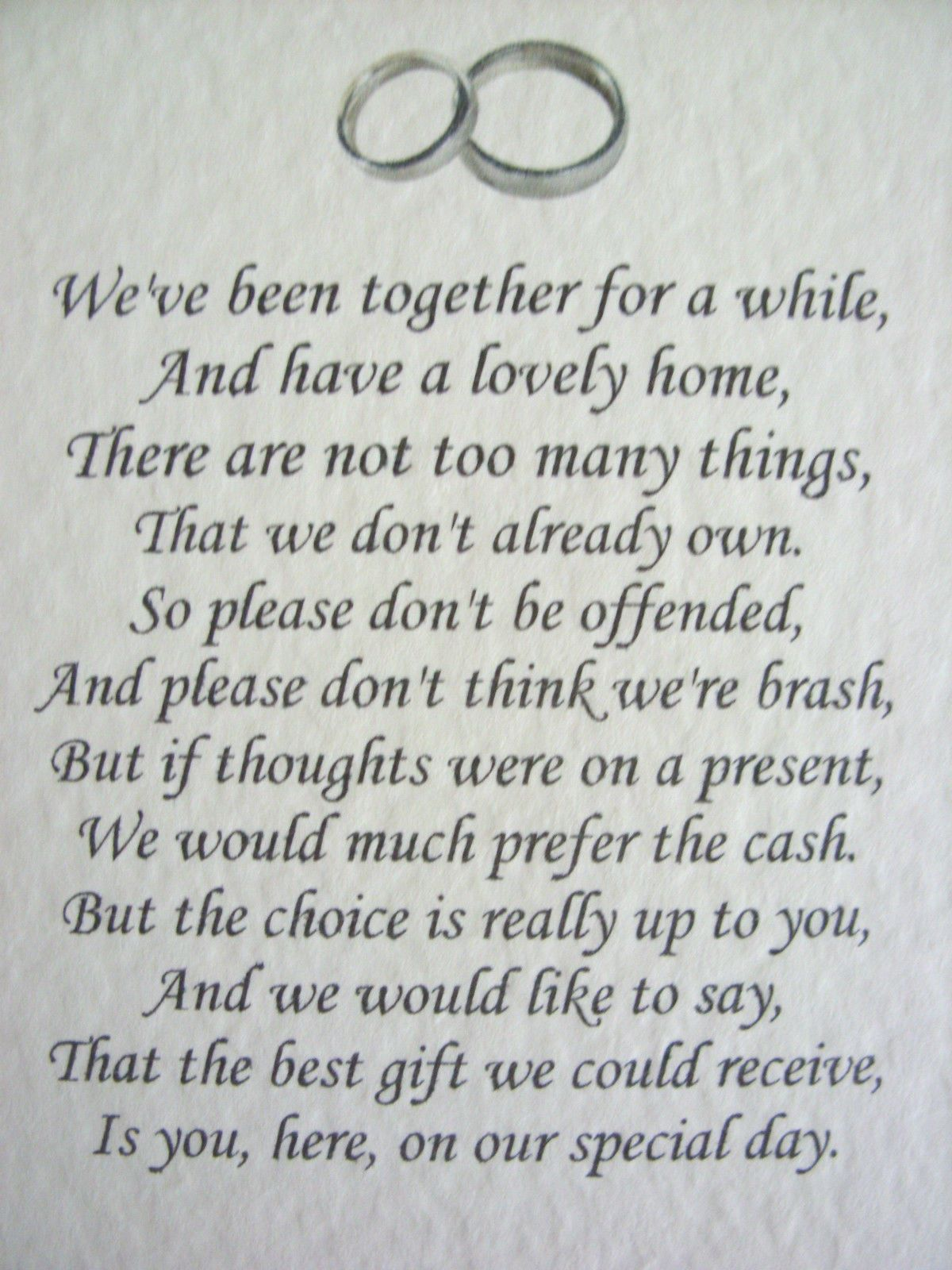 20 Wedding poems asking for money gifts not presents Ref No 10 ...