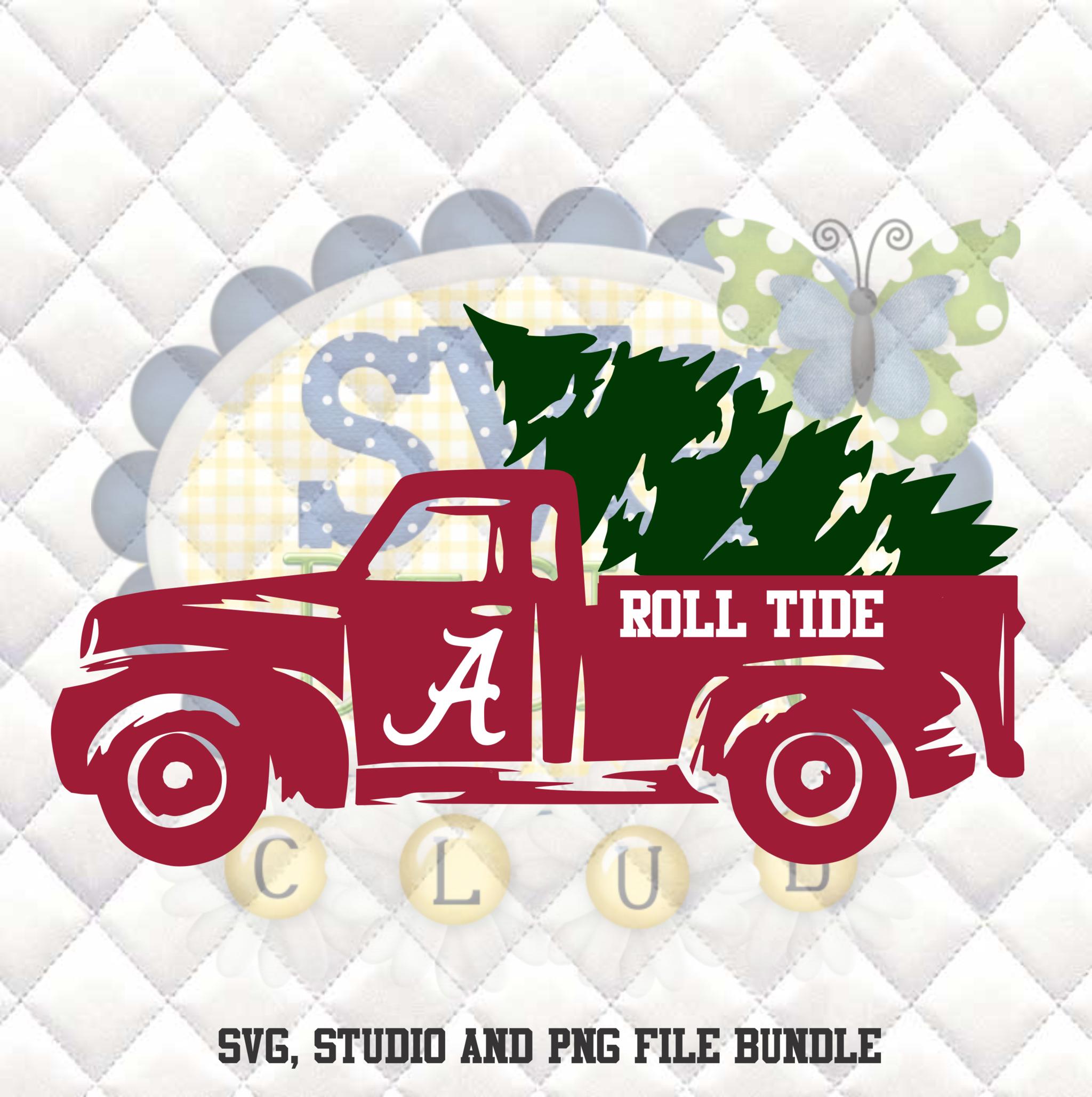 Alabama Crimson Tide Christmas Truck SVG, Silhouette
