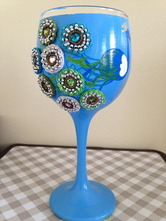 Pretty Peacock Wine Glass by SassysGlassies on Etsy