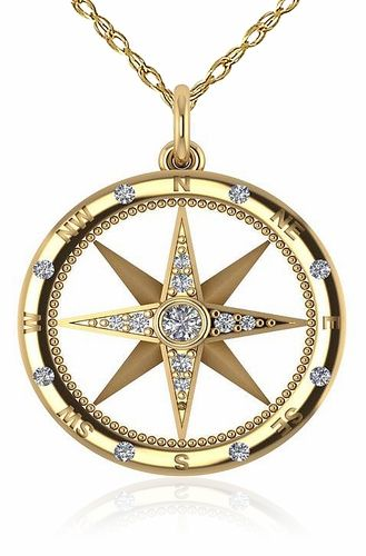 Compass Rose Nautical Bezel Prong and Burnish Set Cubic Zirconia