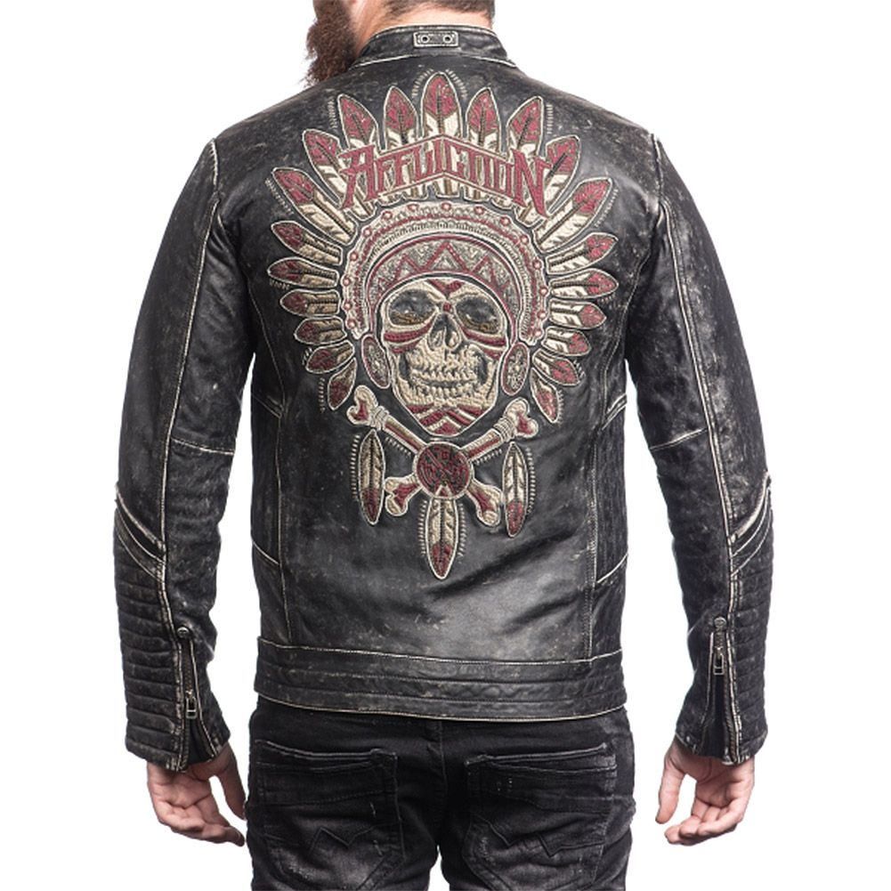 Affliction Renegade Rider Leather Jacket (Black) Cool