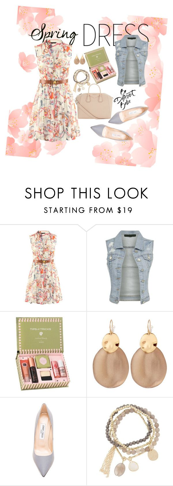"""""""Spring Dress"""" by senadious ❤ liked on Polyvore featuring Benefit, Alexis Bittar, Jimmy Choo, DesignSix and Givenchy"""
