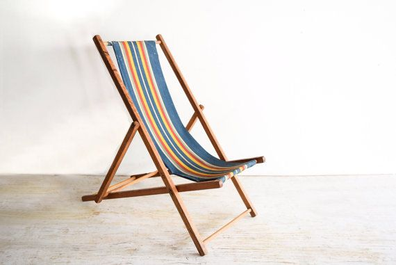 Childu0027s Chair, Kidu0027s Chair, Deck Chair, Sling Chair, Kid Size Sling Deck  Chair With Wood Frame And Classic Navy Blue Striped Fabric, Vintage